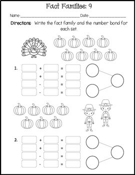 Thanksgiving Fact Families Practice Sheets