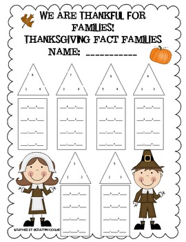 Thanksgiving Fact Family Worksheet by Traci Kelly | Teachers Pay ...