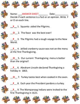 Thanksgiving Fact & Opinion
