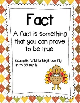 Thanksgiving - Fact and Opinion