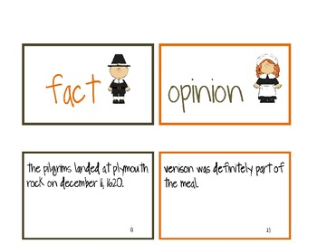 Thanksgiving Fact and Opinion Cards