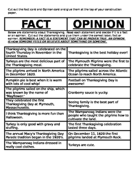 Thanksgiving Fact and Opinion Cut and Paste