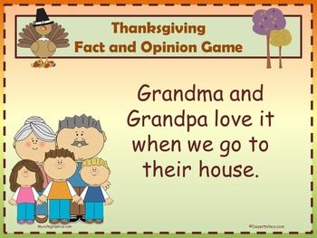 Thanksgiving Fact and Opinion Game