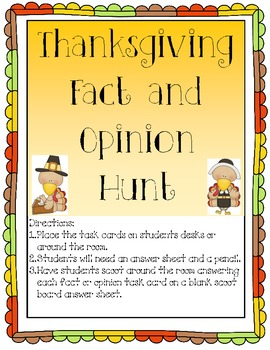 Thanksgiving Fact and Opinion Scoot