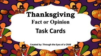 Thanksgiving Fact and Opinion Task Card