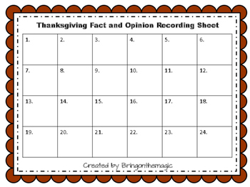 Thanksgiving Fact and Opinion Task Cards/Scoot Game