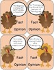 Thanksgiving Turkey Fact and Opinion Task Cards Game for Students with Autism