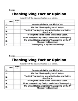 Thanksgiving Fact and Opinion pre/post-test