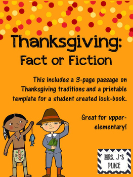 Thanksgiving: Fact or Fiction Lockbook
