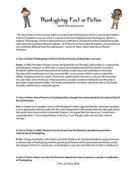Thanksgiving: Fact or Fiction Lockbook