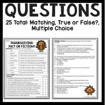 Thanksgiving Fact or Fiction Reading Comprehension Worksheet, November