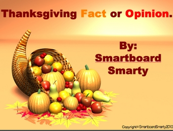 Thanksgiving Fact or Opinion Powerpoint PPT Language Arts Lesson