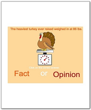 Thanksgiving Fact or Opinion Smartboard Language Arts Lesson
