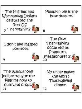 Thanksgiving Fact or Opinion Sort