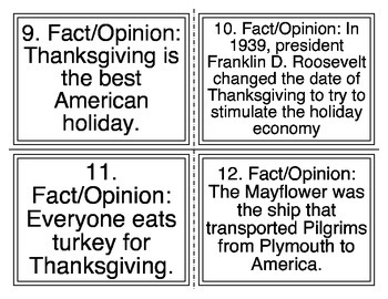Thanksgiving Fact vs Opinion Task Cards (32 Cards)