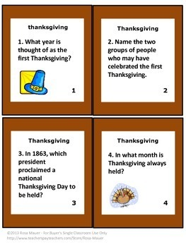Thanksgiving Facts Task Cards