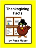 Thanksgiving Facts Task Cards and Worksheet Distance Learn