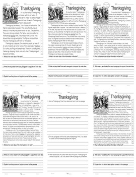 Thanksgiving Facts and Main Idea 5 level passages Close Read Informational Text