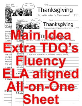 Thanksgiving CLOSE READING 5 LEVEL PASSAGES Main Idea Fluency Check TDQs & More!