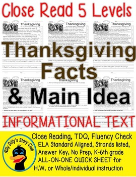 Thanksgiving Facts and Main Idea 5 level passages Close Re