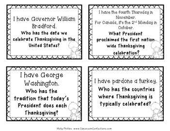 Thanksgiving Activity: I Have Who Has