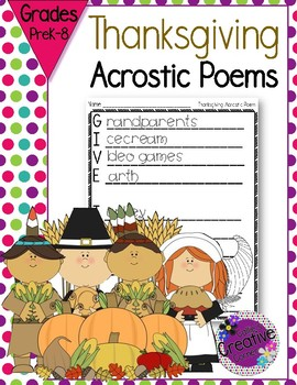 Thanksgiving/Fall Acrostc Poem Templates