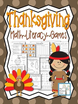 Thanksgiving Fall Activity Pack Math Literacy Games Puzzles Writing Set