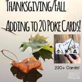 Thanksgiving, Fall Adding Within 20 Poke Card Activity
