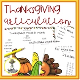 Thanksgiving and Fall Articulation Word Search and Lists -