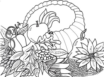Thanksgiving Fall Cornicopia Coloring Sheet