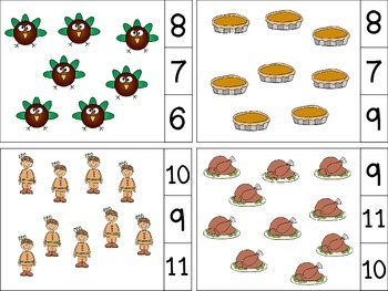 Thanksgiving/Fall Count and Clip Cards