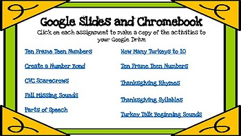 Thanksgiving/Fall Digital Literacy and Math Centers-Compatible with Google Apps