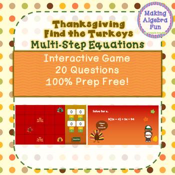 Thanksgiving Fall Find the Turkeys Game Algebra Solving Multi step Equations