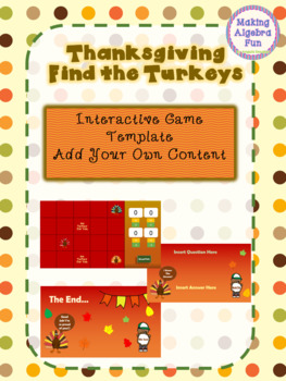 Thanksgiving Fall Find the Turkeys Game Editable Template Add Your Content