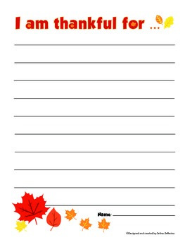 Free Thanksgiving / Fall - I am thankful for Writing Activity