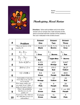 Thanksgiving / Fall Math General Review Coloring Activity