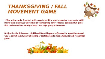Thanksgiving/Fall Movement Game!