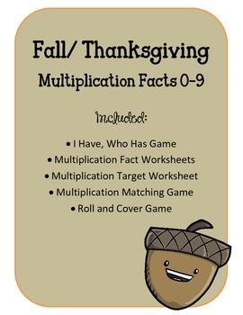 Thanksgiving. Fall. Multiplication BUNDLE. Math Facts 0-9