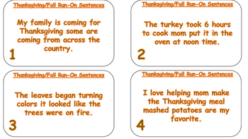 Thanksgiving / Fall Run-On Sentences Task Cards