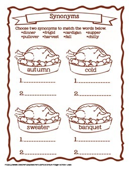 Thanksgiving Fall Synonyms Capitalization Sequencing Subject Predicate Writing