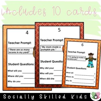"""FALL/THANKSGIVING THEMED  """"Wh"""" Question Prompts {20 Differentiated Prompts}"""