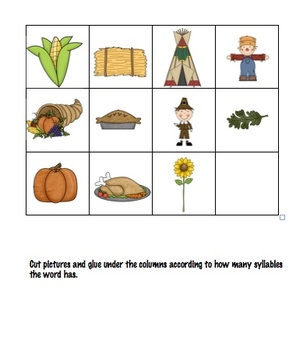 Thanksgiving Fall Time Syllable Sort