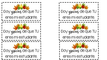 Thanksgiving/Fall Treat bag labels in Spanish