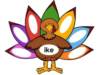 Thanksgiving; Fall; Turkey Phonics Mats; Words; Special Education; First Grade