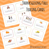 Thanksgiving/Fall Vocabulary Tracing Cards