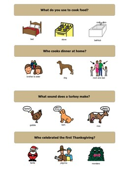 Thanksgiving & Fall WH- Questions (What, Who, Where)