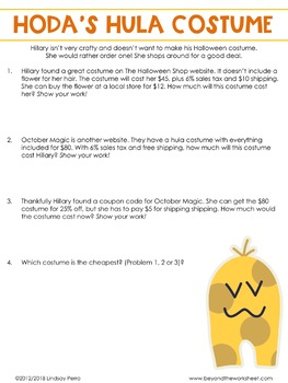 Thanksgiving, Fall and Halloween Math Activities for Middle School