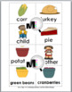 Nouns and Verbs Sort - Thanksgiving