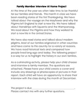 Thanksgiving Family Member  Interview Project