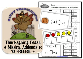 Thanksgiving Feast: A Missing Addends FREEBIE